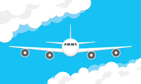 commute: Vector illustration of a airplane flying in a cloudy sky Illustration