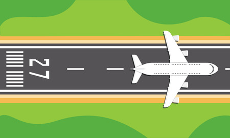 commute: Vector illustration of an airplane on a runway