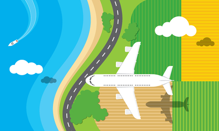 Vector illustration of an airplane flying over  a road, fields and the sea.