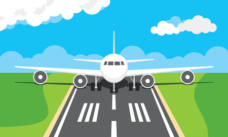 Vector illustration of a plane on a runway Illustration