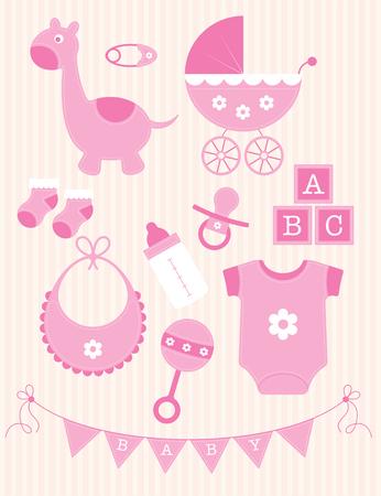 Una colección de juguetes y objetos de color rosa para una niña Ilustración de vector
