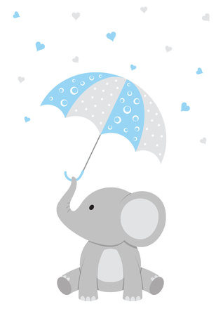 bébé douche illustration d & # 39 ; un bébé éléphant avec un parapluie rose et les coeurs de feu à feu
