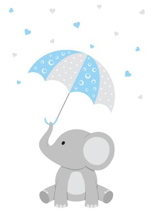 Ejemplo de la fiesta de bienvenida al bebé de un elefante del bebé con un paraguas rosado y corazones que caen.