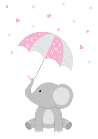 Baby Shower illustration of a baby elephant with a pink umbrella and falling hearts. Banco de Imagens - 83922200