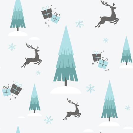 A Christmas design with reindeer, trees and snowflakes Ilustração