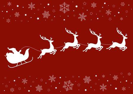 サンタさんのそりトナカイ雪の結晶と星と赤の背景に。