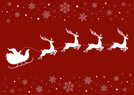 Santa's sleigh pulled by reindeer on a red background with snowflakes and stars.