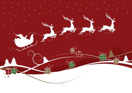 A Christmas illustration of reindeer pulling Santa's sleigh. With trees and gift boxes.