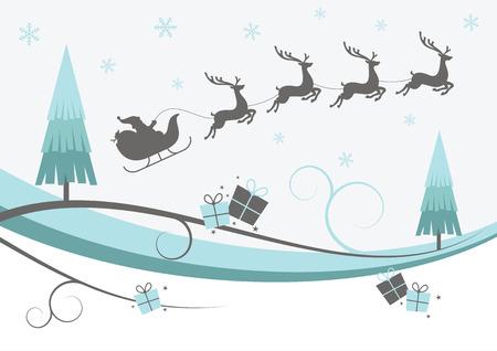 トナカイ、木、雪の結晶とクリスマスデザイン  イラスト・ベクター素材