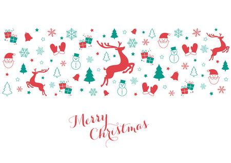 赤と緑のクリスマスアイコンを持つ装飾的なデザイン