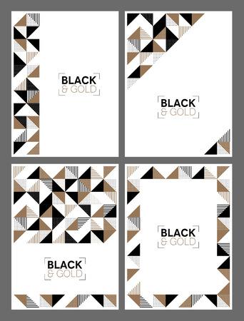 ゴールドとブラックのモダンな幾何学的デザインを備えたフライヤーテンプレートのセット