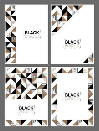 A set of flyer templates with a modern geometric design in gold and black