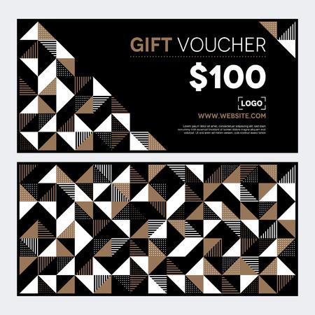 A modern geometric voucher design in gold and black