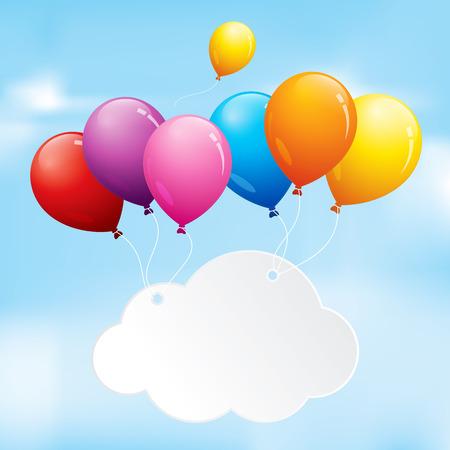 曇り空に浮かぶカラフルな風船