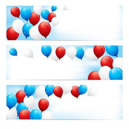 楽しいのセットのテキストのための部屋と青い空を背景赤、白および青の風船でバナーします。  イラスト・ベクター素材