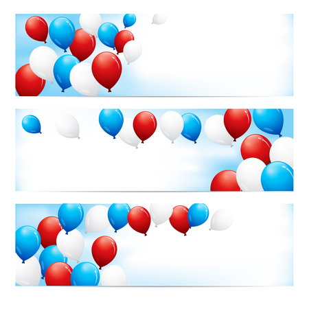 A set of fun banners with red, white and blue balloons against a blue sky with room for text. Ilustração