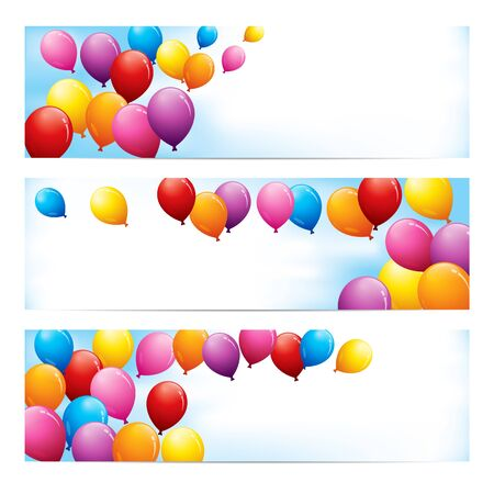 A set of fun banners with colourful balloons against a blue sky with room for text. Ilustração