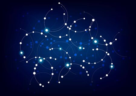 A network themed design in blue and white with circles and curves. Illustration
