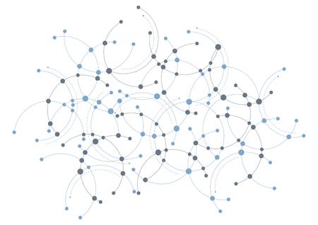 ブルーとグレーが円と曲線のネットワーク テーマにしたデザインです。