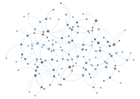 A network themed design in blue and grey with circles and curves. Illustration