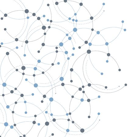 A network themed design in blue and grey with circles and curves. Ilustração