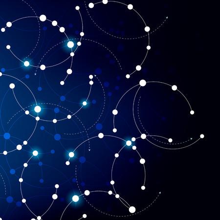円と曲線と青と白でネットワークのテーマにしたデザイン。