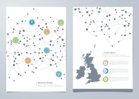 Modern network themed brochure design with inside page map template Ilustração