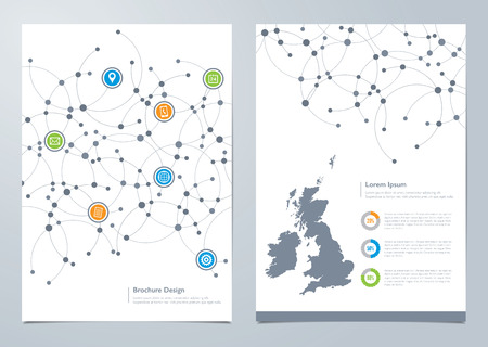Modern network themed brochure design with inside page map template Illustration