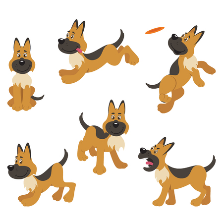A set of German Shepherd dog poses for sitting, playing, catching, standing, barking and running