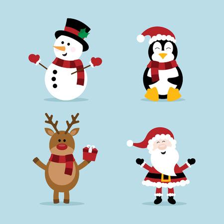 クリスマス雪だるま、トナカイ、ペンギン、サンタ