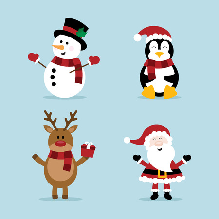 Christmas snowman, reindeer, penguin and santa Ilustração