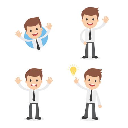 A funny cartoon businessman waving, giving a warning and having a great idea. Ilustração