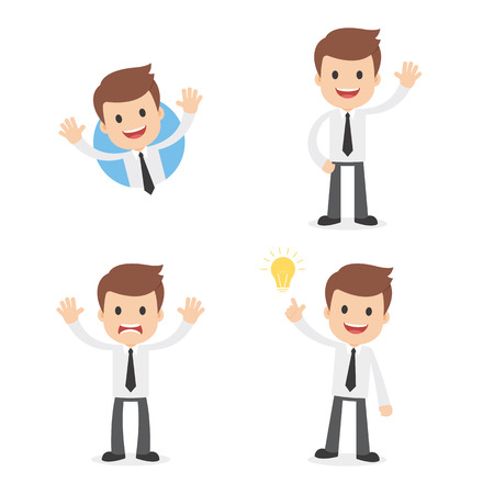 A funny cartoon businessman waving, giving a warning and having a great idea. Illustration