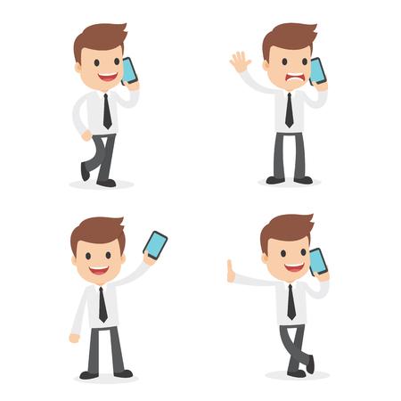 様々なポーズで携帯電話を使用して面白い漫画のビジネスマン  イラスト・ベクター素材