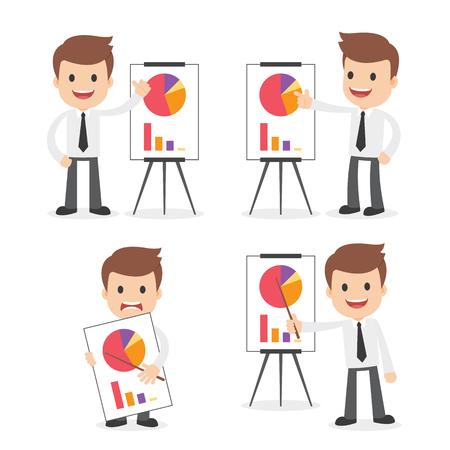 A funny cartoon businessman with a presentation chart. Ilustração