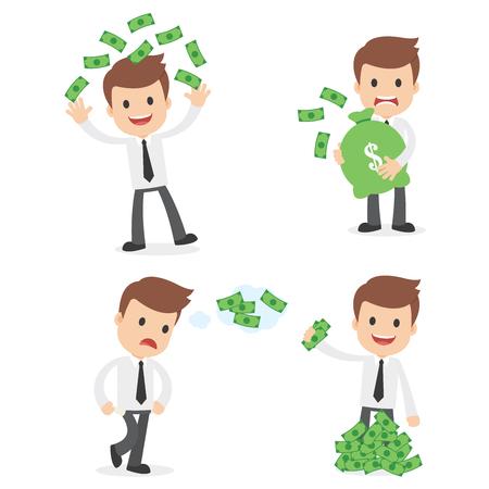 お金を持つ面白い漫画のビジネスマン。