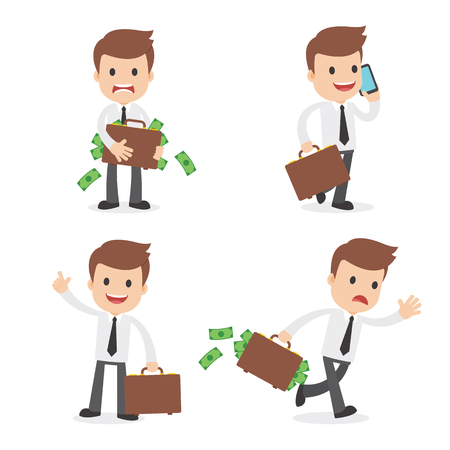 A funny cartoon businessman carrying a briefcase