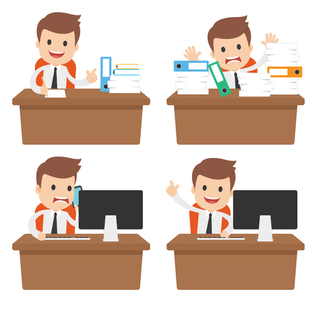 A funny cartoon businessman behind a desk with paperwork and a computer