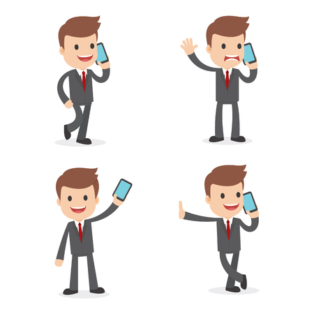 A funny cartoon businessman using a mobile phone and wearing a suit Ilustração
