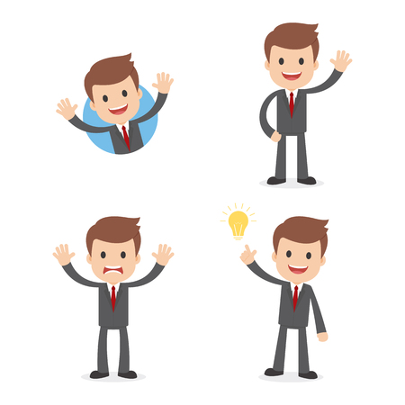 A funny cartoon businessman in a suit waving, giving a warning and having a great idea.