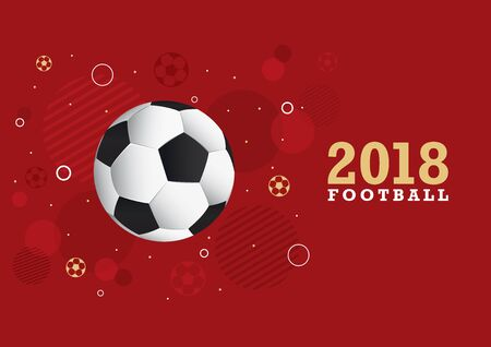 Design in gold lettering and red background with a football