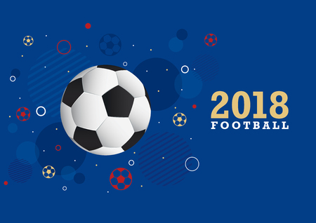 A fun design in gold, blue and red for a football championship  イラスト・ベクター素材