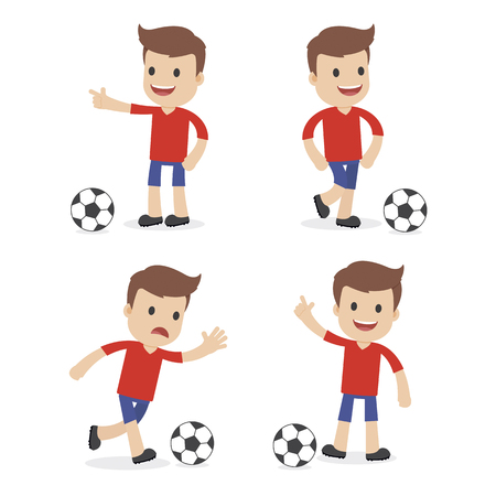 A funny cartoon of a soccer player  イラスト・ベクター素材