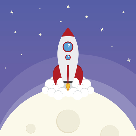 A space rocket launching from the moon Ilustração