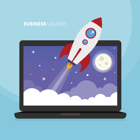 A laptop with a space rocket launching from it to illustrate a business launch