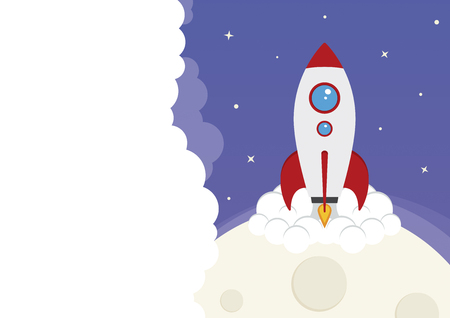 A space rocket launching from the moon Illustration