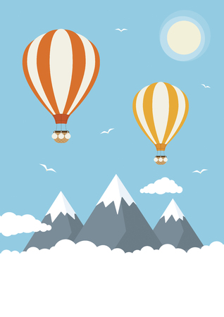 Hot air balloons in the clouds Illustration