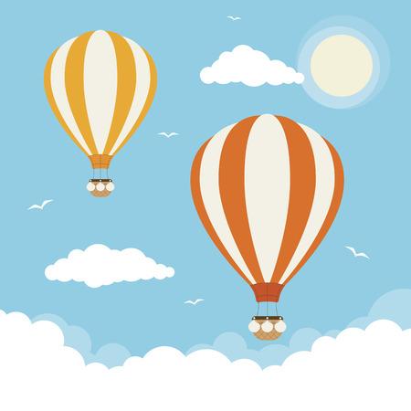 Heteluchtballonnen in de wolken Vector Illustratie
