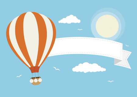 A hot air balloon with banner, clouds and birds