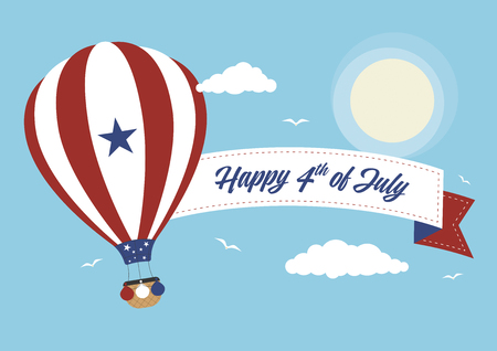 A hot air balloon with 4th July banner Illustration